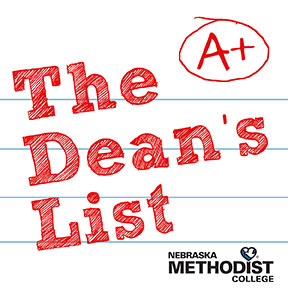 "Text reading ""The Dean's List"" placed on lined notebook paper with a circled ""A+"" in the upper right hand corner and the Nebraska Methodist College logo in the bottom right corner"