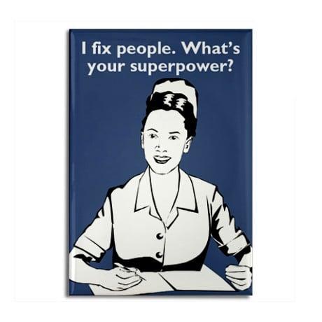 superhero nurse rectangle magnet
