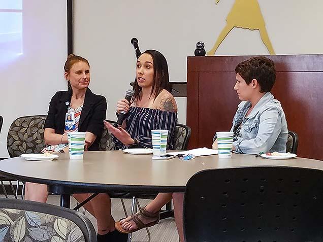 NMC nursing student Courtney Leydig speaks at the Food Insecurity Summit.