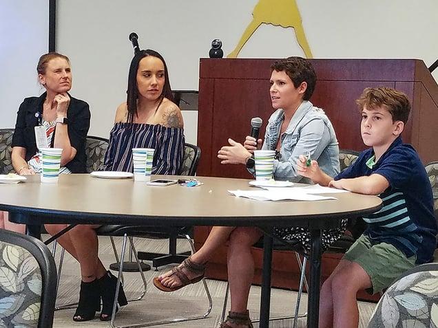 NMC nursing student Amanda Harvey speaks at the Food Insecurity Summit.