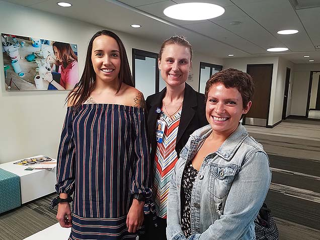 Courtney Leydig, Dr. Lisa Johnson, and Amanda Harvey spoke at the community summit on food insecurity on college campuses.