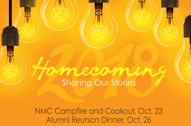 2018 NMC Homecoming: Campfire & Cookout Oct. 23, Alumni Reunion Dinner Oct. 26