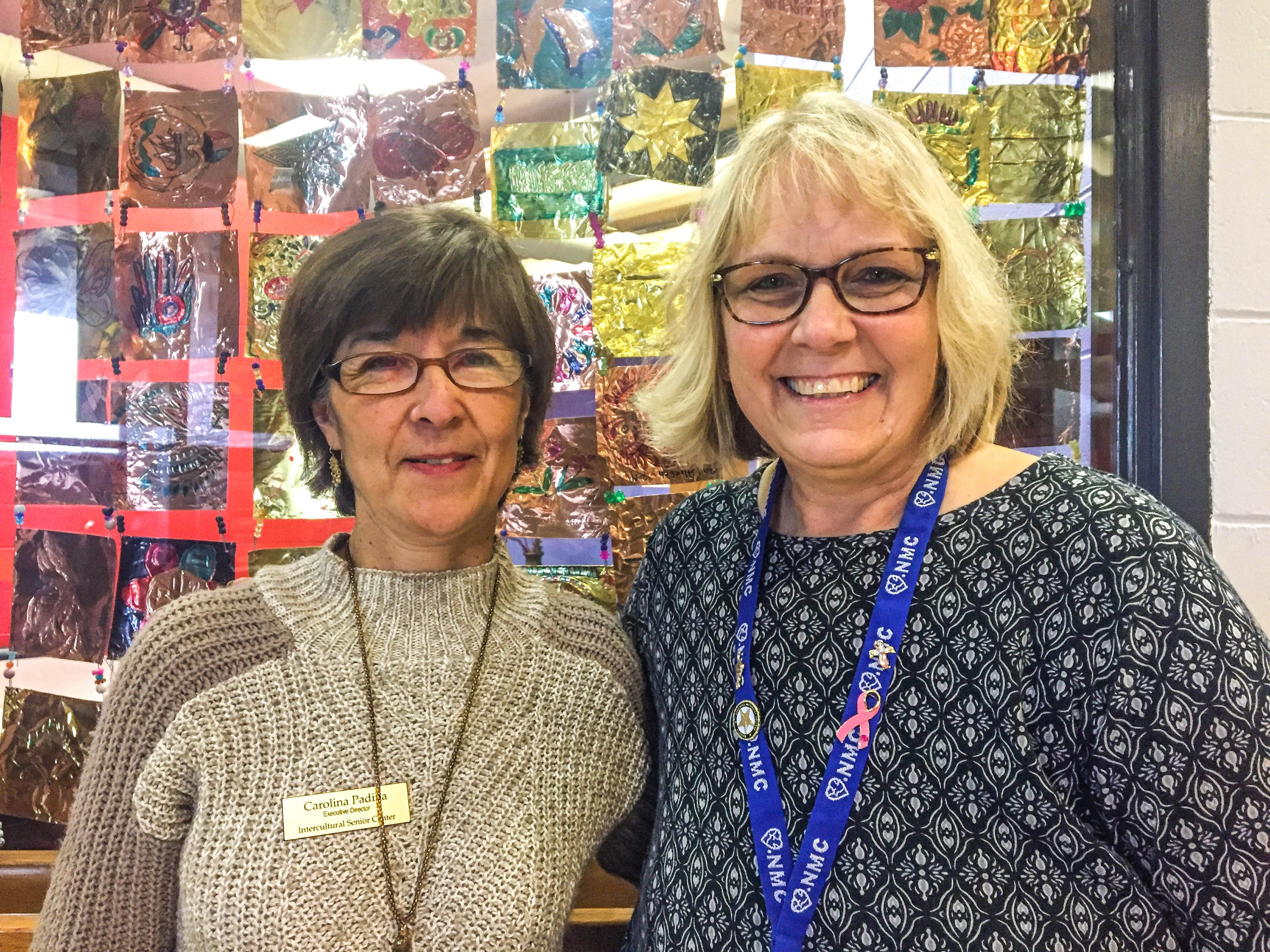 Carolina Padilla, founder and executive director of Omaha's Intercultural Senior Center, with NMC nursing faculty member Kim Hall.