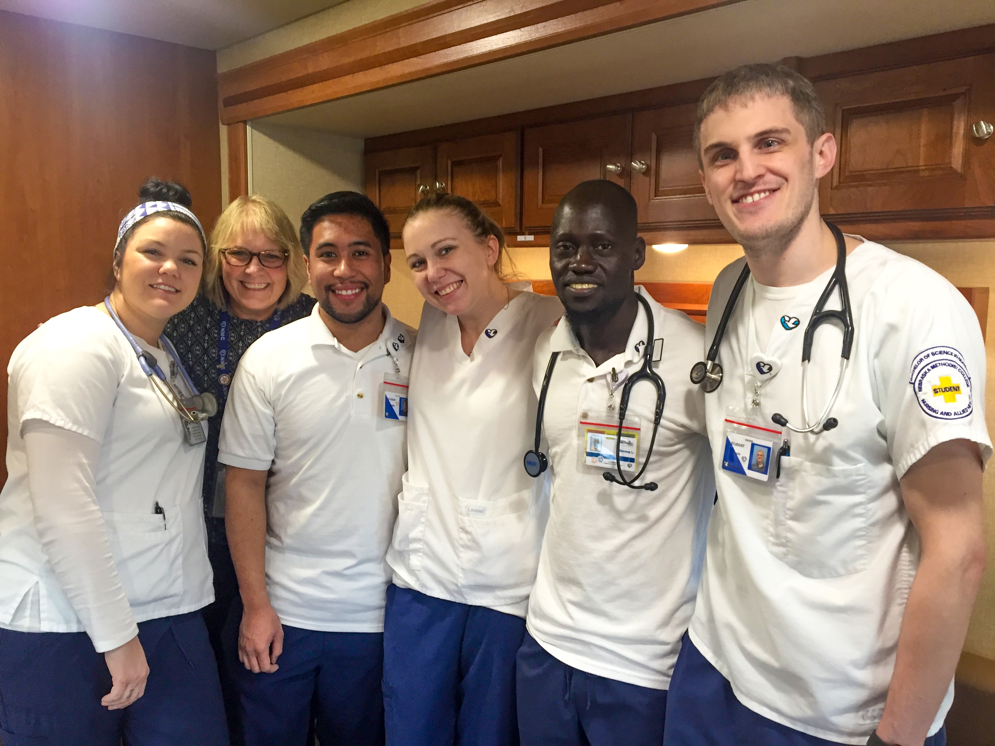 Pictured (from left) are Alyssa Houston, Kim Hall, Angelo Andal, Ashley Olson, Garang Lual and Kevin Kirshenbaum.