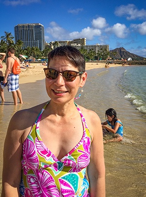 NMC alum Diane Heine enjoying beach time.