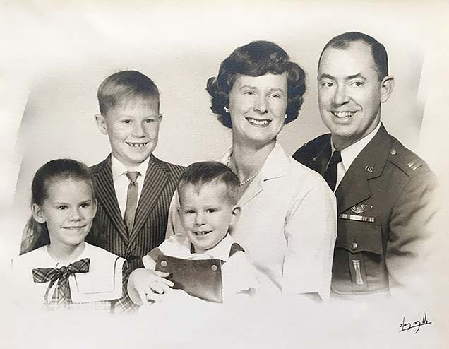 "Lucy Fowler, OT, in family photo with her late husband, Charles Worthington ""Worthy"" Fowler II, USAF Colonel Retired; their daughter, Ellen; and sons Charles Worthington III and Timothy."