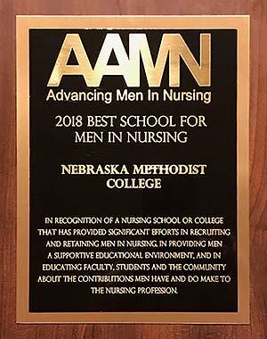 Closeup of the AAMN 2018 Best School for Men in Nursing Award presented to Nebraska Methodist College.