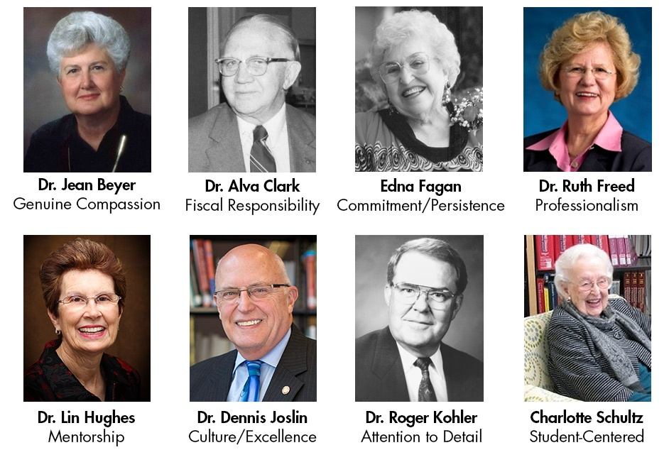 Headshots of eight Methodist mentors: Jean Beyer, Alva Clark, Edna Fagan, Ruth Freed, Lin Hughes, Dennis Joslin, Roger Kohler, and Charlotte Schultz.