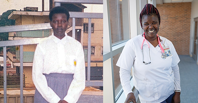 Side-by-side snapshots of Anna bring out the underlying change she went through from wearing her high school uniform in Uganda to her student nurse scrubs at NMC.