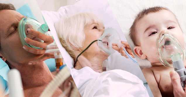 closeup images 3 patients wearing respiratory masks: adult male, elderly woman, infant