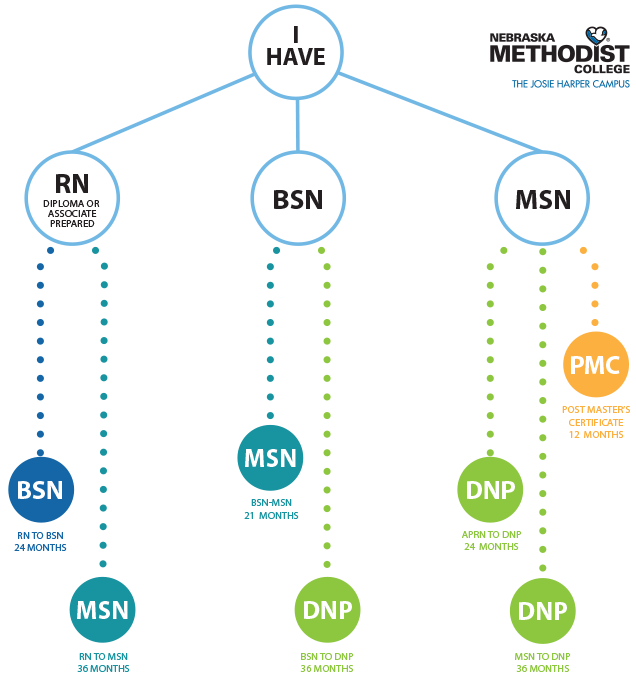 Chart shows degree paths from RN (to BSN or MSN), from BSN (to MSN or DNP), and from MSN (to DNP or Post Master's Certificate