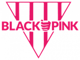 """An upside down pink triangle with the words """"Black Pink"""" written in the center"""